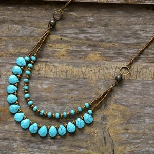 Turquoise seed bead necklace double layer handmade